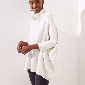NWOT Loft Turtleneck Poncho Sweater Size Large